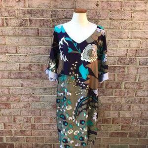 Escada Purple Floral Silk Shift Dress